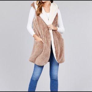 Taupe & White Faux Fur Vest